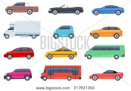 Flat Cars Set. Taxi And Minivan, Cabriolet And Pickup. Bus And Suv, Truck. Urban, City Cars And Vehi