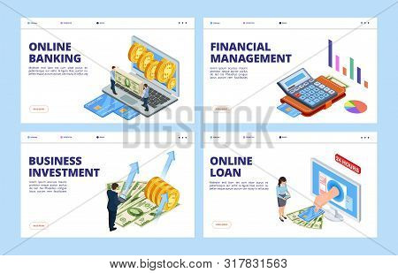 poster of Financial landing page. Business and finance vector banners template, online banking, financial management, investment and credit. Financial investment, money finance payment illustration