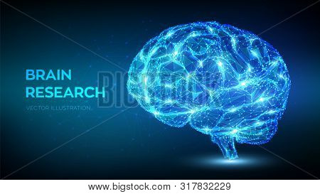 Brain. Low Poly Abstract Digital Human Brain. Neural Network. Iq Testing, Artificial Intelligence Vi