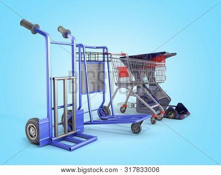 A Set Of Supermarket Trolleys For Different Loads 3d Render On Blue Gradient