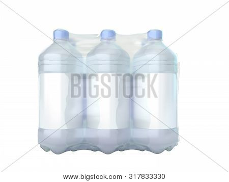 Pat Bottles In Wrapped Package 3d Render On White No Shadow