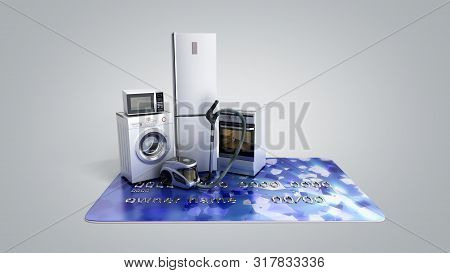 Home Appliances On Credit Card E-commerce Or Online Shopping Concept 3d Render On Grey Gradient