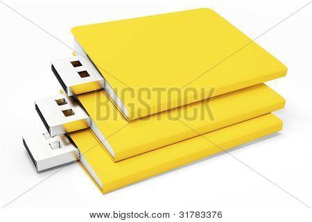 3D Yellow Usb Folders Concept