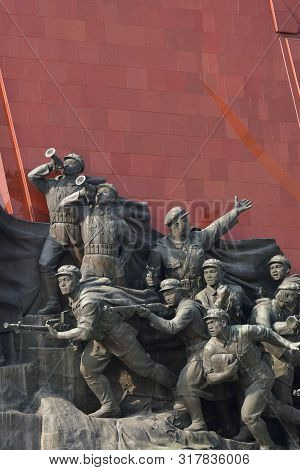 Pyongyang, North Korea - May 1, 2019: Detail Of The Mansudae Monument. Mansudae Is The Most Respecte