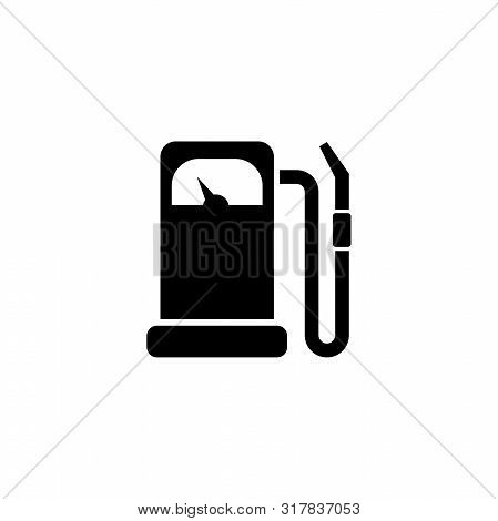 Gas Station, Gasoline Fuel, Petrol. Flat Vector Icon Illustration. Simple Black Symbol On White Back