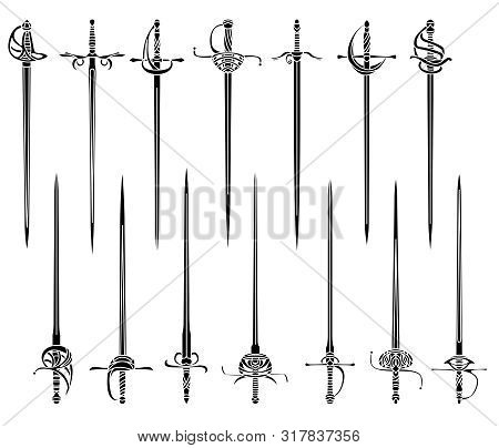 Set Of Simple Monochrome Vector Images Of Epees And Rapiers.