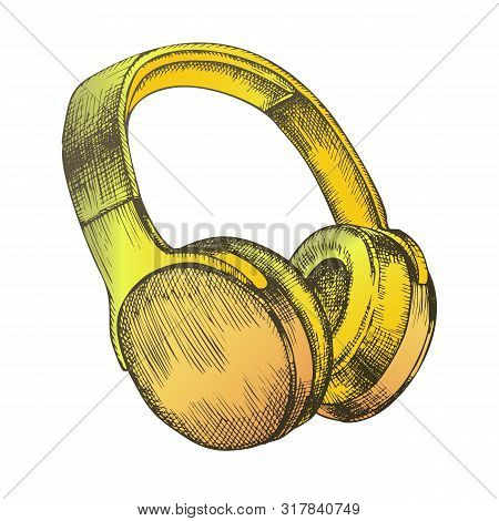 Color Melomane Audio Device Wireless Headphones Vector. Portable Electronic Gadget Headphones For He