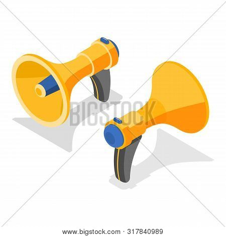 Isometric Flat Vector Concept Of A Yellow Loudspeaker.