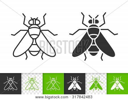 Fly Black Linear And Silhouette Icons. Thin Line Sign Of Insect. Housefly Outline Pictogram Isolated