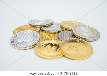 Bunch Of Crypto Currency Coins With Various Of Shiny Silver And Golden Physical Cryptocurrencies Sym