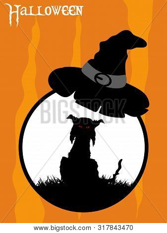 Black Silhouette Of A Spooky Cat With Red Eyes On Circular White Border With Witch Hat Over Orange A