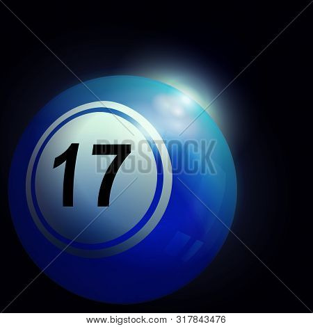 3d Illustration Of Blue Bingo Lotto Lottery Ball Number 17 Into Deep Black Space With Sunrise And Le