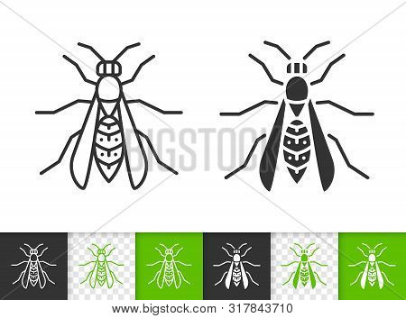 Wasp Black Linear And Silhouette Icons. Thin Line Sign Of Hornet. Bee Outline Pictogram Isolated On