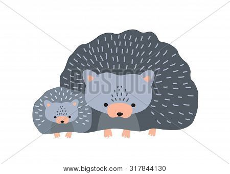 Hedgehog with baby isolated on white background. Cute family of funny wild nocturnal forest animals. Parent with youngling, mother and child or offspring. Flat cartoon colorful vector illustration. poster