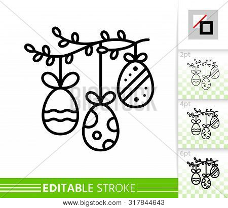 Easter Egg Garland On Spring Branch Thin Line Icon. Holiday Poster. Banner In Flat Style. Simple Ill