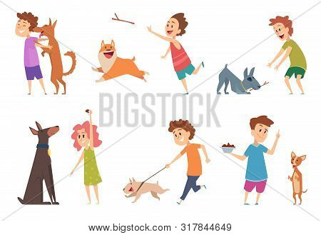 Kids With Dogs. Happy Children Playing Hugging Their Funny Pets Vector Cartoon Puppy Dog Domestic An