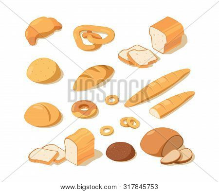 Cooking Bread. Bakery Food Fresh Pastries Black And White Bread Delicious Pretzel Loaf Vector Isomet