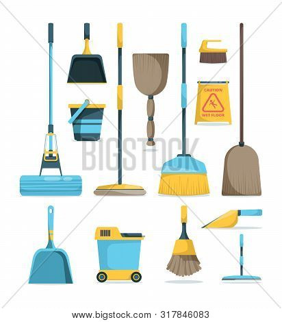 Broom And Mops. Hygiene Room Housework Supply Household Equipment For Cleaning Handle Brooms Vector