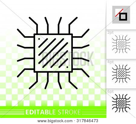 Microchip Thin Line Icon. Outline Sign Of Cpu. Microprocessor Linear Pictogram With Different Stroke