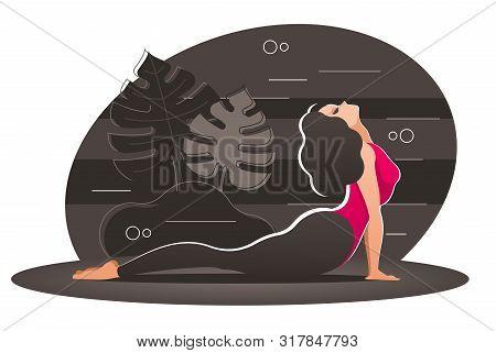 Woman In Cobra Pose. Beautiful Girl Practicing The Cobra Pose