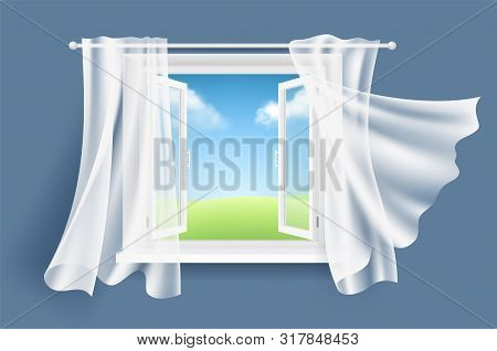 Open Window With Curtains. Sunny Background With Glass Light Window And Flowing Fluttering Fabric Cu