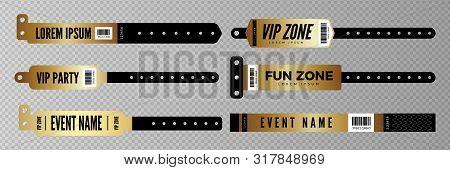 Events Bracelets. Vector Golden Entrance Key For Party, Concert, Disco Bar. Entry Bracelets Isolated