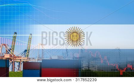 Argentina crisis economy stock exchange market down chart fall trading graph finance Fiscal deficit High inflation loan Argentina interest rate is high and  effects of trade wars export import poster