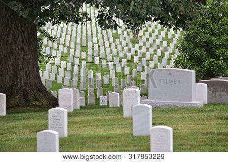 Washington Dc, Usa - June 13, 2013: Arlington National Cemetery In Washington. Arlington National Ce