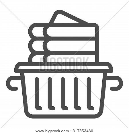 Folded Linen Line Icon. Laundry Clothes In Basket Vector Illustration Isolated On White. Folded Towe