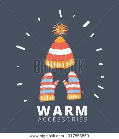 Cartoon Vector Illustration Of Hat With Pompom And Scarf With Mittens Isolated On Dark Backgound.