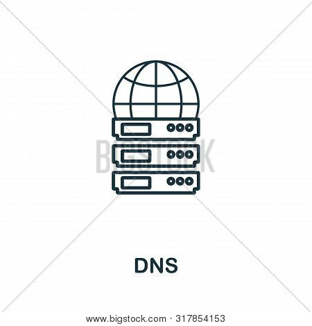 Dns Icon. Thin Outline Style Design From Web Hosting Icons Collection. Creative Dns Icon For Web Des