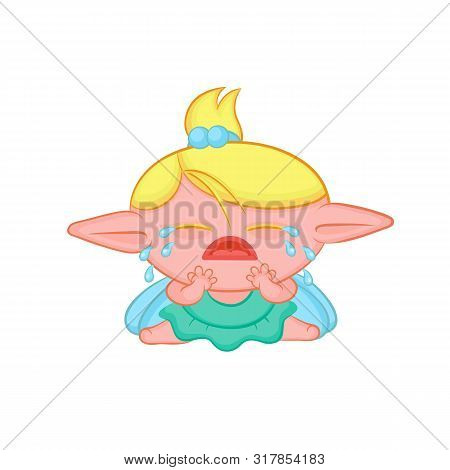Weeping Elf Fairy With Wings. Cute Sobbing Blond Girl Sorceress In Dress Vector Fantastic Character