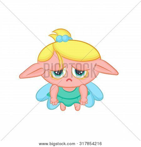Sad Elf Fairy With Wings. Cute Blond Melancholy Girl Sorceress In Dress Vector Fantastic Character I