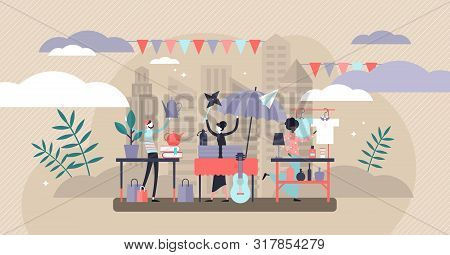 Flea Market Vector Illustration. Flat Tiny Swap Meet Event Persons Concept. Ancient Product Collecti