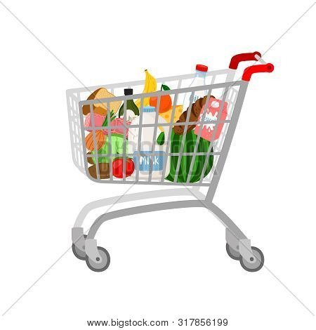 Grocery Shopping Cart On White. Full Supermarket Food Basket Vector Illustration, Shop Cart With Gro