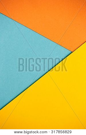 Photo Of Colored Sheets Of Paper: Yellow, Orange, Blue, Green. Suitable For Design Templates, Covers