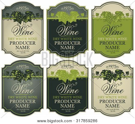 Vector Set Of Labels For White Wine With Bunches Of Grapes And Calligraphic Inscriptions In Retro St