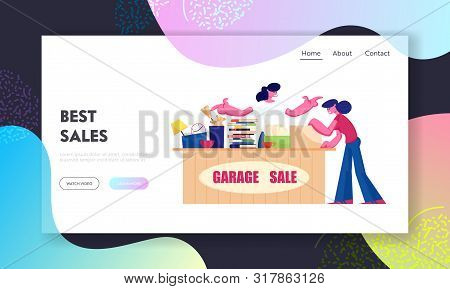 Outdoor Garage Sale Website Landing Page. Woman Offer Junk Goods, Odd Rummage Objects And Different