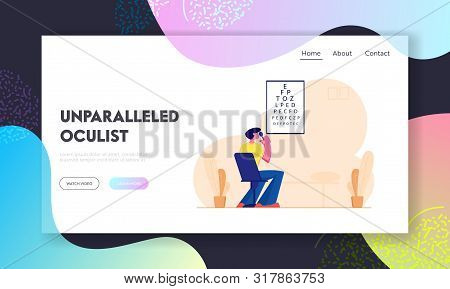 Eyesight Check Up Website Landing Page. Man Looking At Test Chart For Vision Checkup. Patient In Ocu