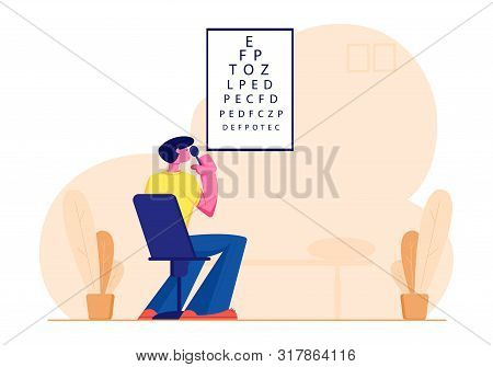 Eyesight Check Up Procedure In Clinic. Man Looking At Test Chart For Vision Checkup. Patient In Ocul