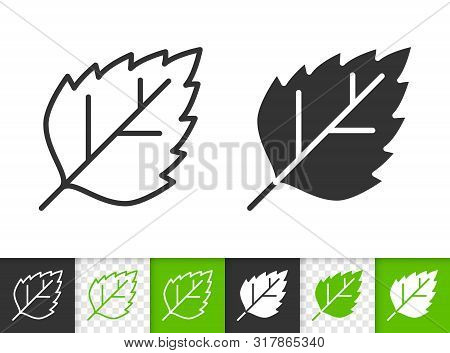 Leaf Black Linear And Silhouette Icons. Thin Line Sign Of Birch. Poplar Outline Pictogram Isolated O