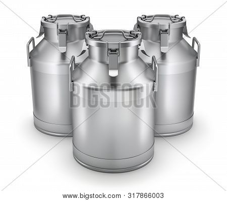 Milk Cans With Latch On White Background - 3d Illustration