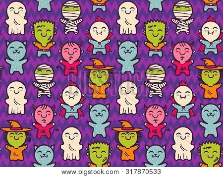 Vector Seamless Pattern With Children In Costumes For Halloween. Pattern With Cute Kids In Halloween