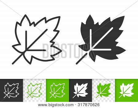 Leaf Of Tree Black Linear And Silhouette Icons. Thin Line Sign Of Currant. Grapes Outline Pictogram