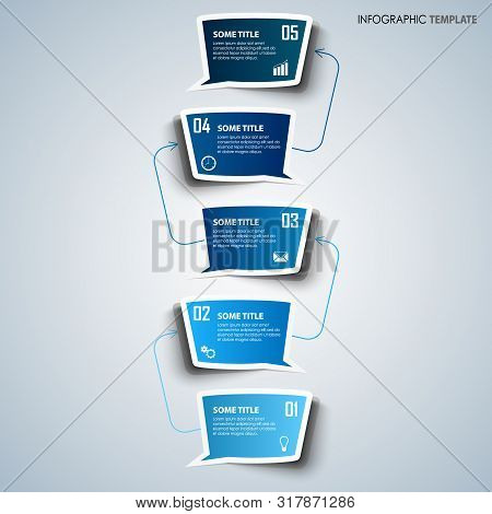 Info Graphic With Dialog Bubbles In Blue Design Template Vector Eps 10