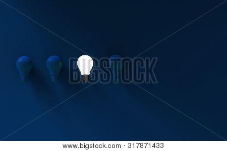 Light Bulbs On Dark Blue Background. Idea Concept. 3d Illustration.