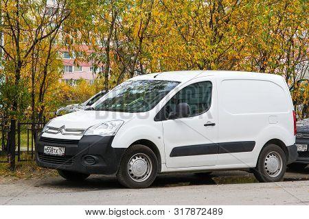 Novyy Urengoy, Russia - September 8, 2012: White Panel Van Citroen Berlingo In The City Street.