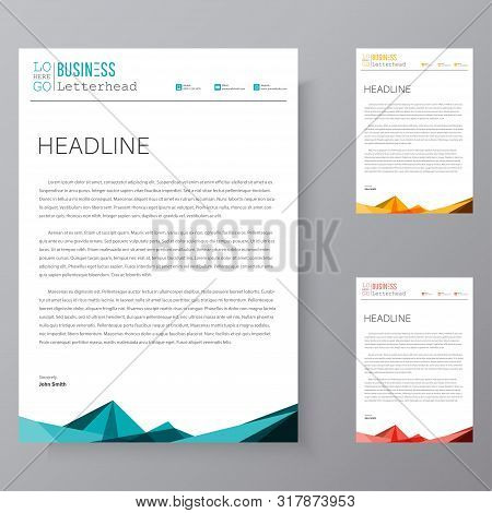Letterhead Design Template And Mockup Minimalist Style Vector Bundle. Set Design For Business Or Let