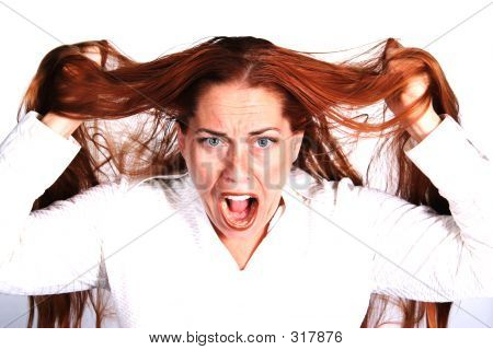 Frustrated Woman Pulling Out Hair