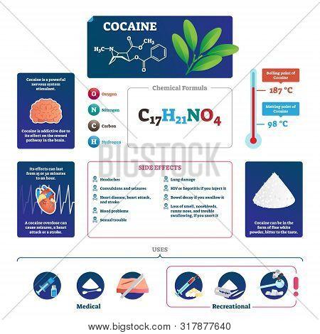 Cocaine Vector Illustration. Educational Labeled Drug Description Scheme. Infographic With Explained
